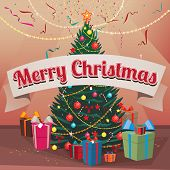 Congratulations Merry Christmas spruce and gift boxes indoors poster