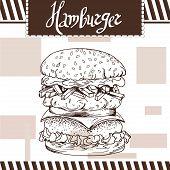 Fast food poster with hamburger. Hand draw retro illustration. Vintage burger design. Template poster