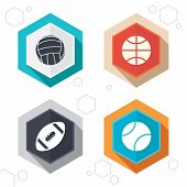 Hexagon buttons. Sport balls icons. Volleyball, Basketball, Baseball and American football signs. Team sport games. Labels with shadow. Vector poster