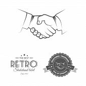 Business deal shakehand. Two businessman shakehand, eps10, vector format. Retro vintage badges and labels template. poster