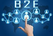 B2E - Business to Employee concept with hand pressing social icons on blue world map background. poster