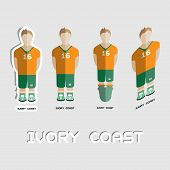 Ivory Coast Soccer Team Sportswear Template. Front View of Outdoor Activity Sportswear for Men and Boys. Digital background vector illustration. Stylish design for t-shirts shorts and boots. poster