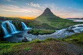 Kirkjufell mountain in Snaefellsnes peninsula, north of Reykjavik poster