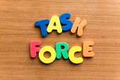 task force colorful word on the wooden background poster