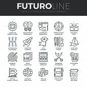 Modern thin line icons set of startup business and launch new product on market. Premium quality outline symbol collection. Simple mono linear pictogram pack. Stroke vector logo concept for web graphics. poster