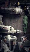 Electric hand tools (screwdriver Drill Saw jigsaw jointer) photo processing: instagram poster