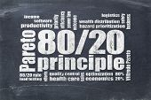 Pareto principle or eighty-twenty rule - word cloud on a blackboard poster