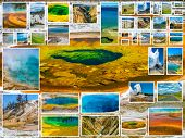 Yellowstone pictures collage of different locations landmark of Yellowstone National Park, Wyoming, United States with Morning Glory Pool in background. poster