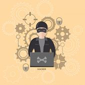 Hacker on a laptop vector illustration flat poster