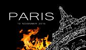 Pray for Paris. Symbol of Paris Eiffel Tower in fire. Date 13 11 2015 - the day of terrorist attack in Paris. poster