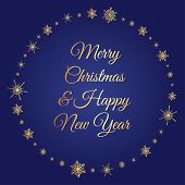Vector deep blue square background with frame of elegant golden snowflakes and script type text: Merry Christmas & Happy New Year. poster