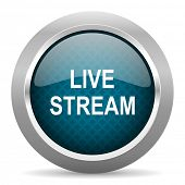 live stream blue silver chrome border icon on white background  poster