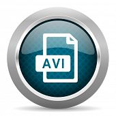 avi file blue silver chrome border icon on white background   poster