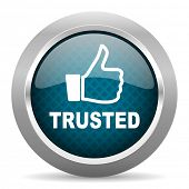 trusted blue silver chrome border icon on white background  poster