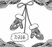 Christmas Mittens  in Zen doodle style black on white coloring page for coloring book or creative Post Card or for decoration  of package, window, door in shop or for Christmas or New Year things poster