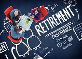 Retirement Insurance Pension Saving Plan Benefits Travel Concept poster