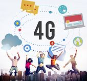 4G Telecommunication Connection Networking Mobility Concept poster