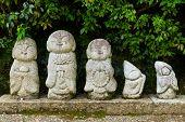 Nagomi jizo, statue in Japanese temple poster