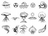 Natural disaster icons set. Tornado and radiation, apocalypse and typhoon, asteroid and flood, fire and storm, vector illustration poster