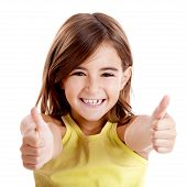 Portrait of a beautiful and confident girl showing thumbs up isolated one white poster