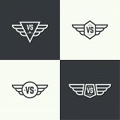 Versus sign. Badge with wings. Concept of opposition, battle, confrontation poster