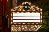 Marquee Lights on Broadway Theater Exterior Blank poster