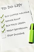 To do list with stop smoking  unchecked poster