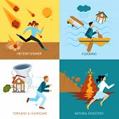 Natural disasters safety design concept with people escape from tornado and hurricane flat icons isolated vector illustration poster