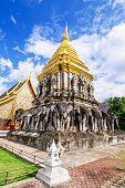 Chedi Chang Lom And Viharn, Wat Chiang Man Temple, Chiang Mai, Thailand. poster