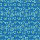 blue lovely pattern with many differently big and little flowers poster
