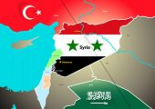 Syria geopolitical map with proposed oil pipeline. poster