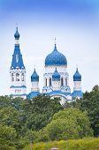 Pokrova Bozhiej Materi's orthodox church in Marienburg Gatchina Russia poster