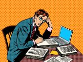 Writer editor journalist academic thesis paper laptop pop art retro style. A stack of documents. Office work poster