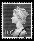 Black & white image of a vintage red Queen Elizabeth II, ten pence, Great Britain postage stamp SG829 poster