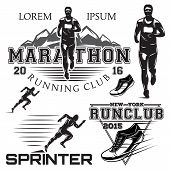 set of black and white sports emblems for the sprint and marathon poster