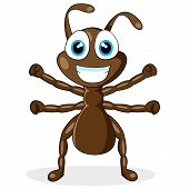 vector illustration of a cute little brown ant. No gradient. poster