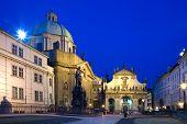 PRAGUE CZECH REPUBLIC - NOV 25 2012: Krizovnicke square with Charles IV. statue St. Salvatore church Old Town Prague (UNESCO) Czech republic poster