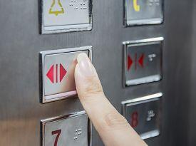 Hand Press Open Door Button In Elevator