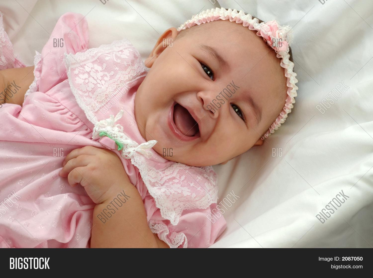 cute baby girl pink image & photo (free trial) | bigstock