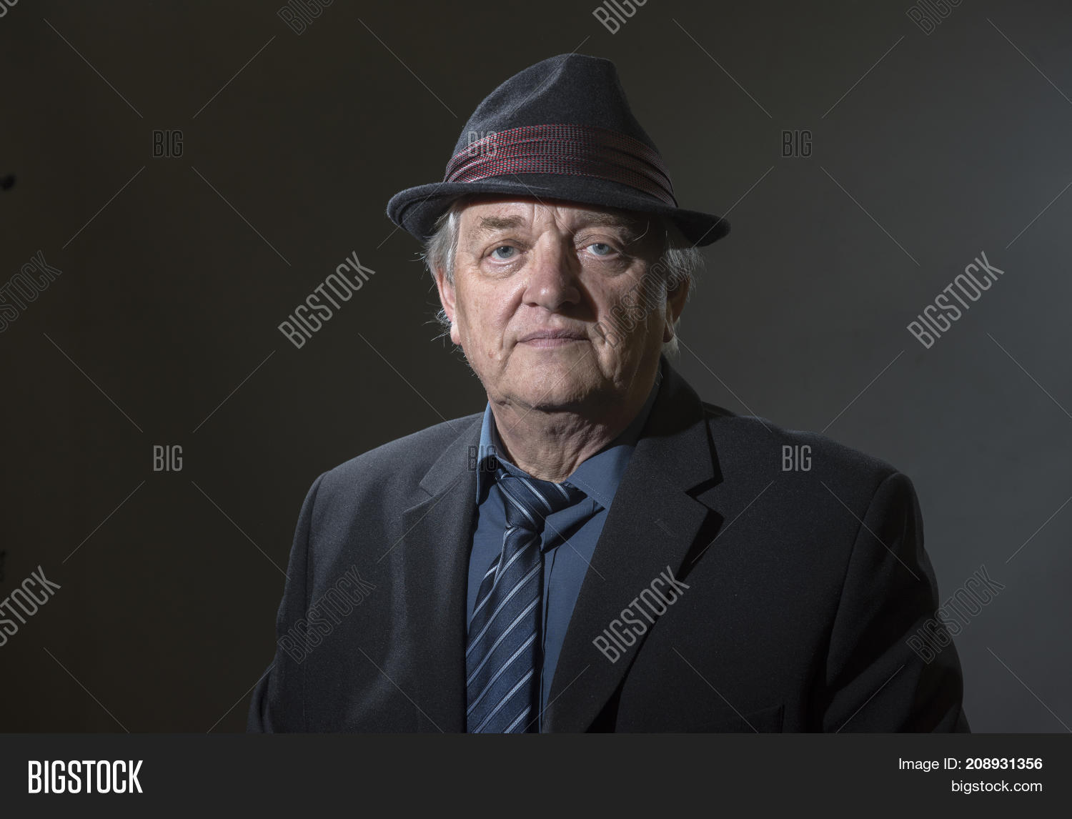 e714fbb17cbb6 Portrait image of a mature man in a shirt tie and fedora hat