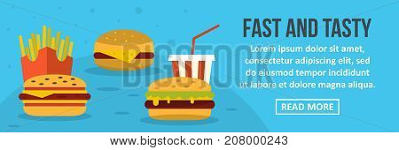 Fast and tasty food banner horizontal concept. Flat illustration of fast and tasty food banner horizontal vector concept for web design