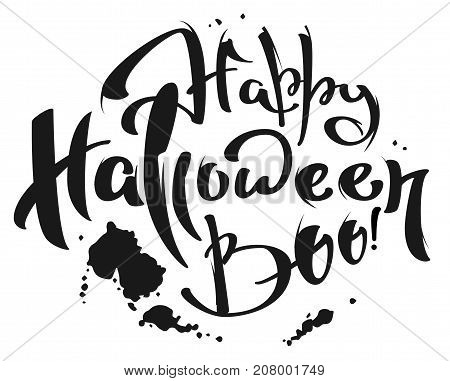Happy Halloween Boo lettering text for greeting card. Isolated on white vector illustration