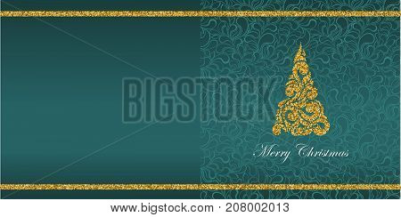 Greeting card with Christmas symbol from gold sequins and the inscription Merry Christmas. Floral background pattern. Glamour swirles. Vector.