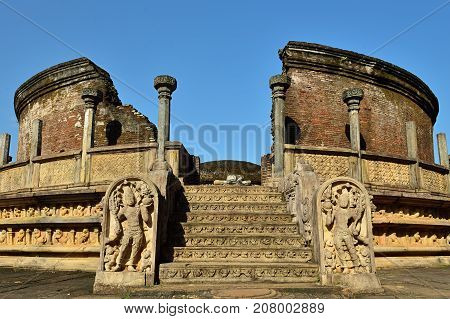 Polonnaruwa ruin was the second capital of Sri Lanka after the destruction of Polonnaruwa. The photograph is presenting Vatadage (Round House). Sri Lanka