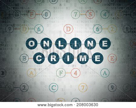 Protection concept: Painted blue text Online Crime on Digital Data Paper background with Hexadecimal Code