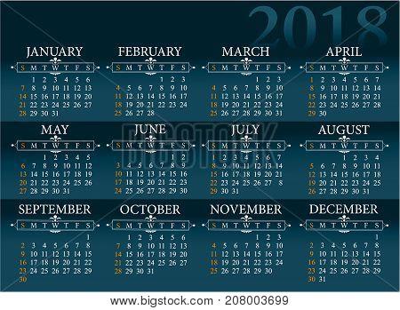 Blue background calendar for 2018 year - vector illustration