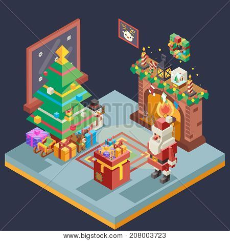 Isometric Room Cristmas New Year Santa Claus Icons Greeting Card Elements Design Flat Template Vector Illustration