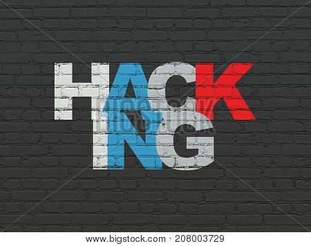 Protection concept: Painted multicolor text Hacking on Black Brick wall background