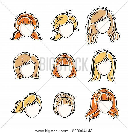 Collection of women faces human heads. Diverse vector characters like red-haired and blonde females beautiful ladies visage clipart and user profile.
