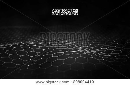 Network concept blue vector illustration. Futuristic hexagon vector illustration. Futuristic hexagon vector illustration. HUD element. Technology concept. 3d landscape. Big data.
